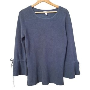 LC Lauren Conrad Bell Sinched Sleeve Knit Sweater Gray Size L